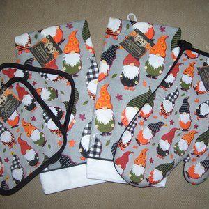 Fall GNOMES 5 pc Kitchen Set *Dish Towels, Pot